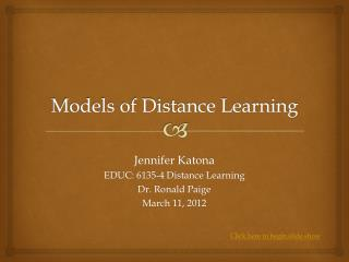 Models of Distance Learning