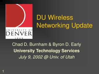 DU Wireless Networking Update