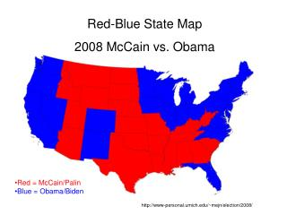 Red-Blue State Map 2008 McCain vs. Obama