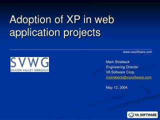 Adoption of XP in web application projects