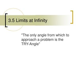3.5 Limits at Infinity
