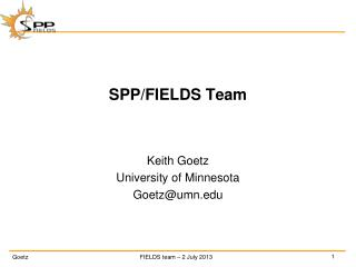 SPP/FIELDS Team