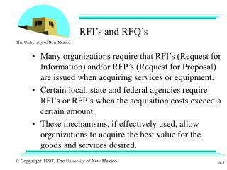 RFI s and RFQ s