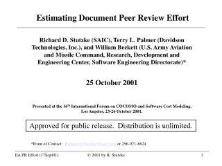 Estimating Document Peer Review Effort