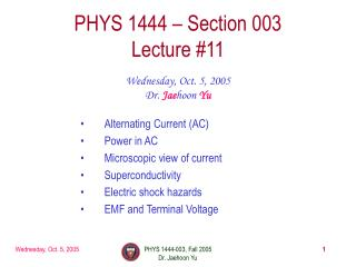 PHYS 1444 – Section 003 Lecture #11