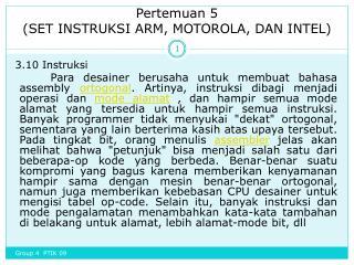 Pertemuan  5 (SET INSTRUKSI ARM, MOTOROLA, DAN INTEL)