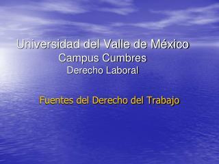 Universidad del Valle de México Campus Cumbres Derecho Laboral