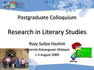 Postgraduate Colloquium  Research in Literary Studies