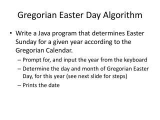 Gregorian Easter Day Algorithm