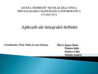 LICEUL TEORETIC NICOLAE JIGA TINCA SPECIALIZAREA MATEMATICA-INFORMATICA CLASA 12-A