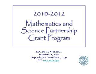 BIDDERS CONFERENCE September 16, 2009 Proposals Due: November 12, 2009 RFP:  sde.ct