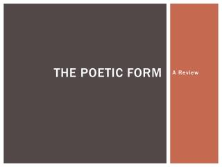 The Poetic Form
