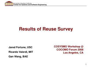 Results of Reuse Survey