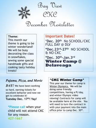 Bay View CKC December Newsletter