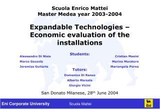 Scuola Enrico Mattei Master Medea year 2003-2004