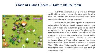 Clash of Clans Cheats � How to utilize them
