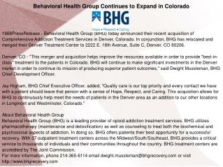 Behavioral Health Group Continues to Expand in Colorado