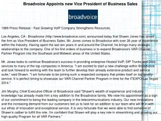 Broadvoice Appoints new Vice President of Business Sales