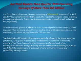 AmTrust Reports Third Quarter 2013 Operating Earnings Of Mor