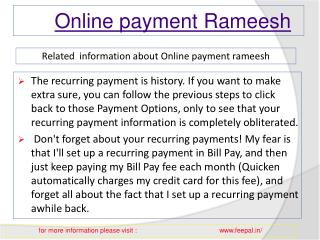 Advantages of online payment rameesh