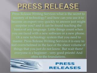 Method of Writing an Effective Press Release