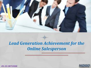 Lead Generation Achievement for the Online Salesperson