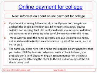 The most amazing thing about the college online payment