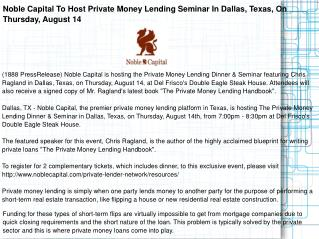Noble Capital To Host Private Money Lending Seminar