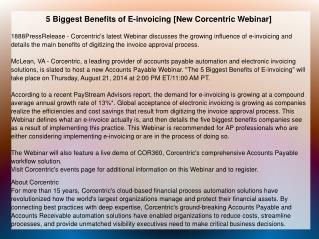 5 Biggest Benefits of E-invoicing [New Corcentric Webinar]