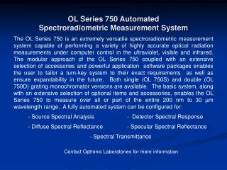 OL Series 750 Automated Spectroradiometric Measurement System