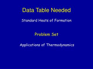 Data Table Needed