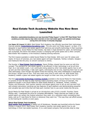 Real Estate Tech Academy Website Has Now Been Launched