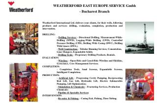 WEATHERFORD EAST EUROPE SERVICE Gmbh  - Bucharest Branch