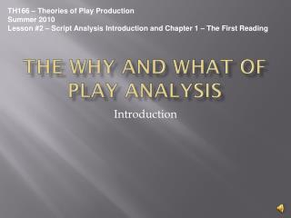The Why and What of Play Analysis