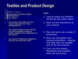 Textiles and Product Design