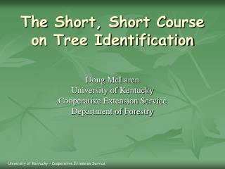 The Short, Short Course on Tree Identification