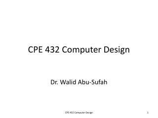CPE 432 Computer Design