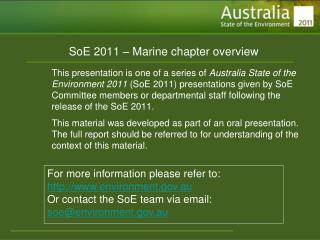 SoE 2011 – Marine chapter overview