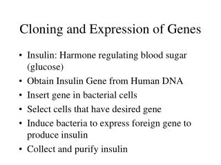 Cloning and Expression of Genes
