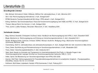 Literaturliste (I)