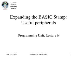 Expanding the BASIC Stamp: Useful peripherals