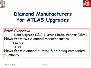 Diamond Manufacturers for ATLAS Upgrades