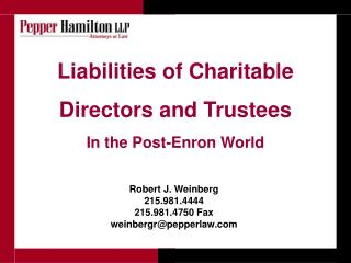 Liabilities of Charitable Directors and Trustees In the Post-Enron World