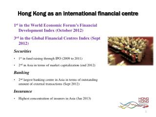Hong Kong as an international financial centre