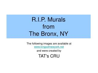 R.I.P. Murals  from  The Bronx, NY