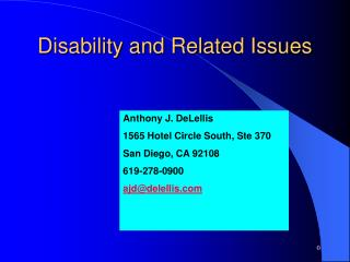 Disability and Related Issues