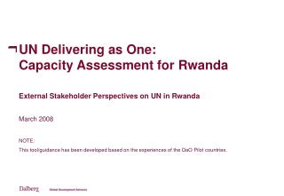 UN Delivering as One: Capacity Assessment for Rwanda