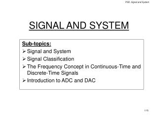 SIGNAL AND SYSTEM