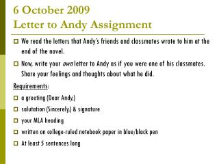 6 October 2009  Letter to Andy Assignment