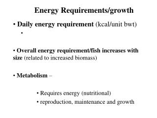 Energy Requirements/growth